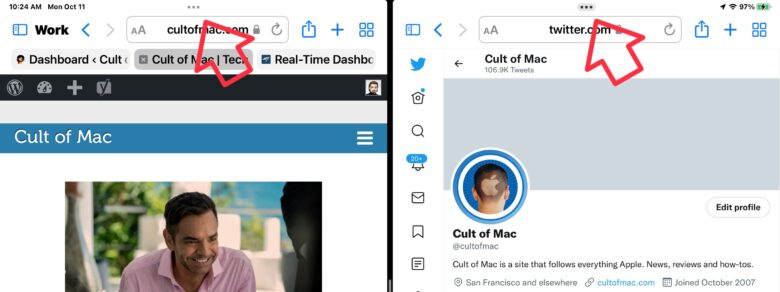 A tiny icon appears at the top of all applications in iPadOS 15. Tap on it to open the multitasking menu