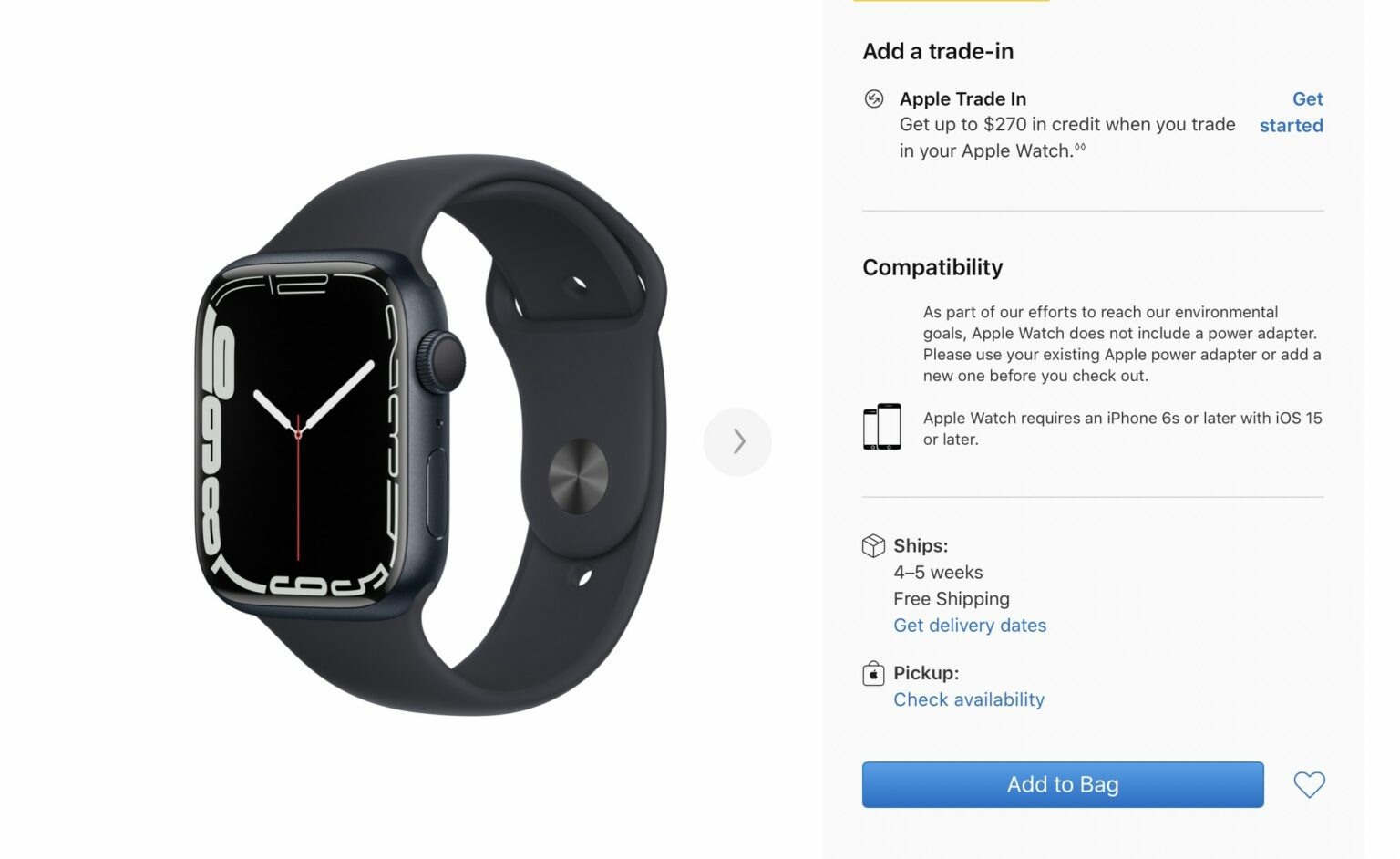 Apple Watch Series 7 shipping dates