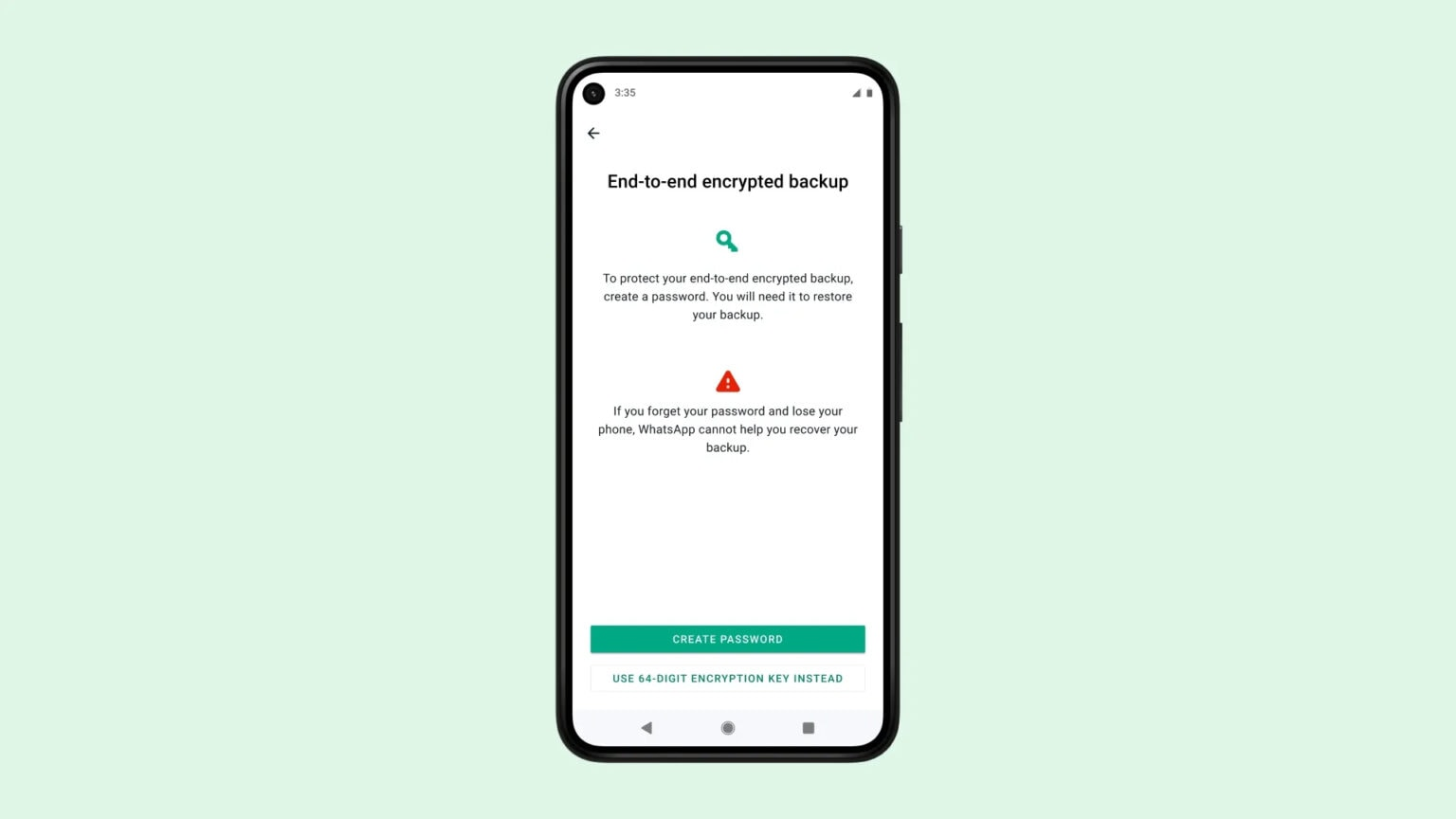 WhatsApp encrypted chat backup