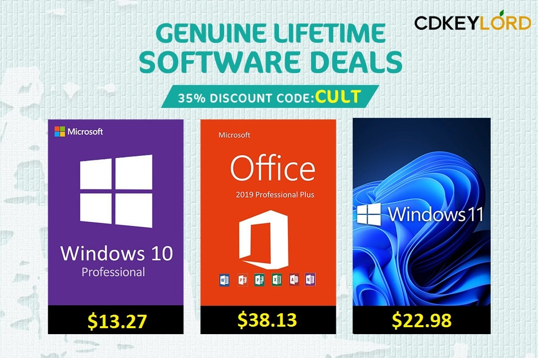 Get 35% off Microsoft Windows and Office software activation keys at CDKeylord.com with code CULT.